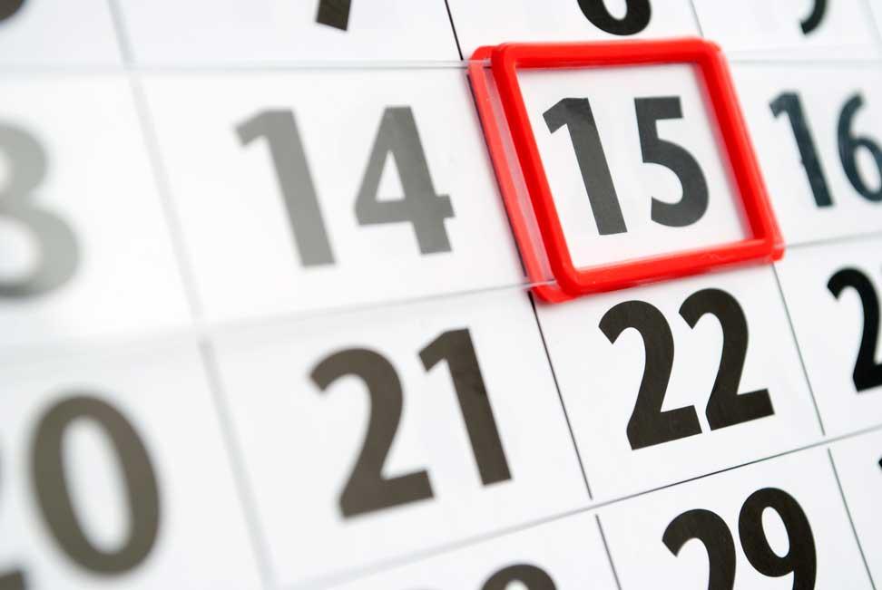 Calendar on the 15th